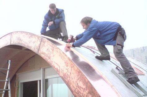 Tonnendach, Ausführung in Kupfer