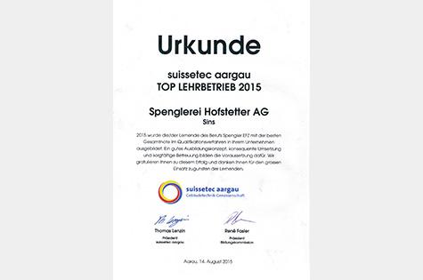 Urkunde Top Lehrbetrieb 2015
